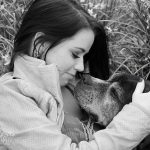 black and white photo of woman with her senior dog mckinney texas