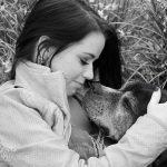 black and white photo of woman with her senior dog mckinney texas