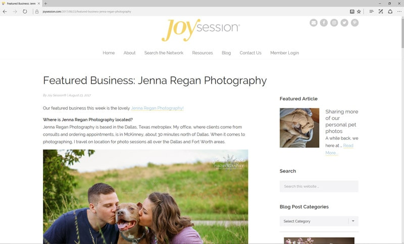 Feature on JoySession.com | Pet Photography Interview with Jenna