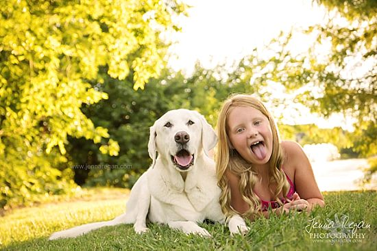 lab with kid during pet photo shoot
