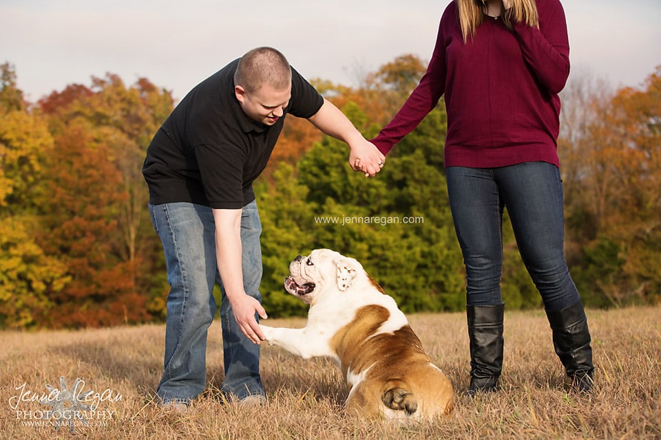 fall family photo including bulldog in mckinney texas