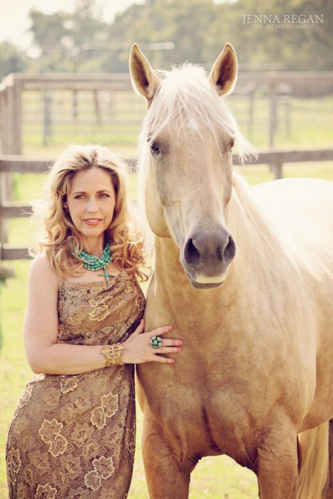 elegant equine portrait of woman and her horse