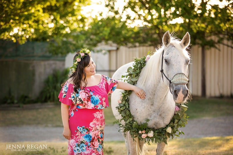 gray horse with flowers engagement photo session fort worth texas