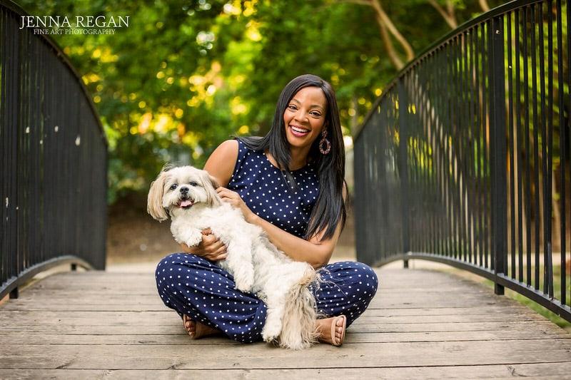 woman-with-her-white-shitzu-dog-on-bridge-pet-photo-shoot-southlake-texas