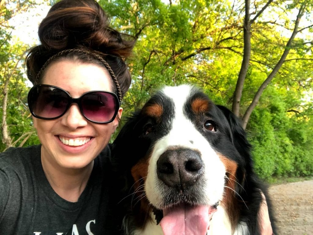 jenna regan photographer with bernese mountain dog