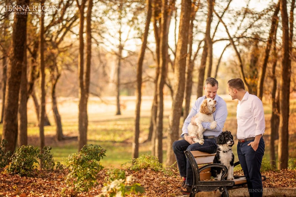 men with their cocker spaniels- photo shoot- fall jenna regan photography