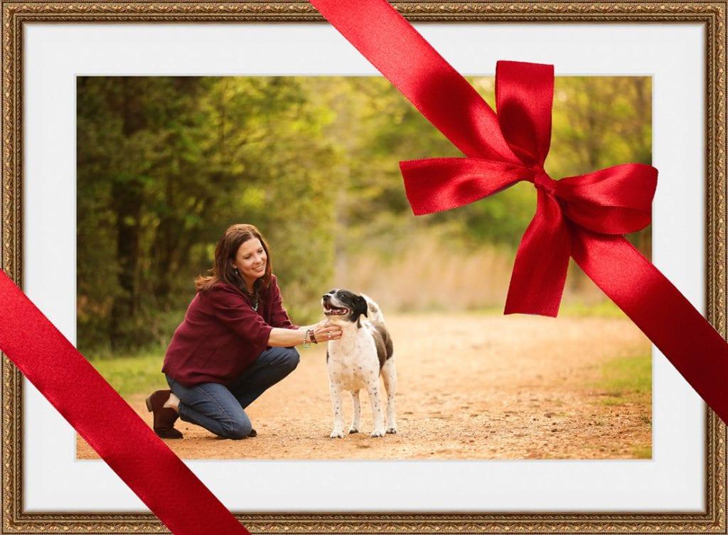 framed portrait dog mom pet photography session gift certificate